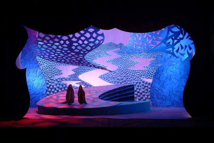"Image of Spirit World Rooftop, 1 1/2"" Scale Model, Act I, Scene I, Final Version from ""Die Frau Ohne Schatten"" (Alternate Lighting 2)"