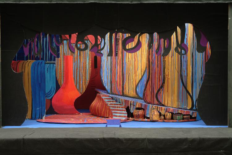 """Image of Barak's Hovel, 1 1/2"""" Scale Model Act I/II Scene II/I,III,V, Final Version from """"Die Frau Ohne Schatten"""" (Alternate Lighting 1)"""