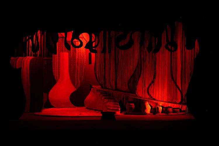 """Image of Barak's Hovel, 1 1/2"""" Scale Model Act I/II Scene II/I,III,V, Final Version from """"Die Frau Ohne Schatten"""" (Alternate Lighting 2)"""