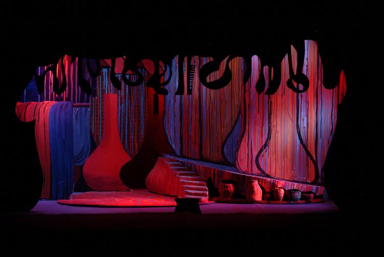 """Image of Barak's Hovel, 1 1/2"""" Scale Model Act I/II Scene II/I,III,V, Final Version from """"Die Frau Ohne Schatten"""" (Alternate Lighting 3)"""