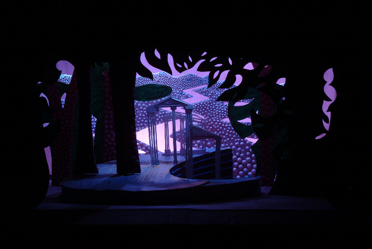 """Image of Falcon House Exterior, 1 1/2"""" Scale Model Act II, Scene II, Final Version from """"Die Frau Ohne Schatten"""" (Alternate Lighting 2)"""