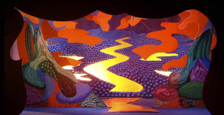 "Image of River Landscape, 1 1/2"" Scale Model Act III, Scene IV, Final Version from ""Die Frau Ohne Schatten"" (Alternate Lighting 1)"