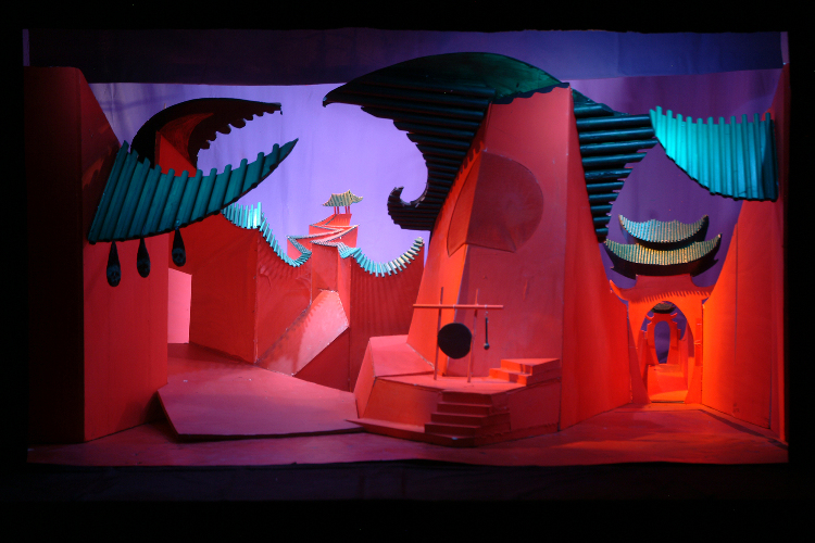 """Image of Act I, 1/2"""" Scale Model, Final Version from """"Turandot"""" (Alternate Lighting 1)"""