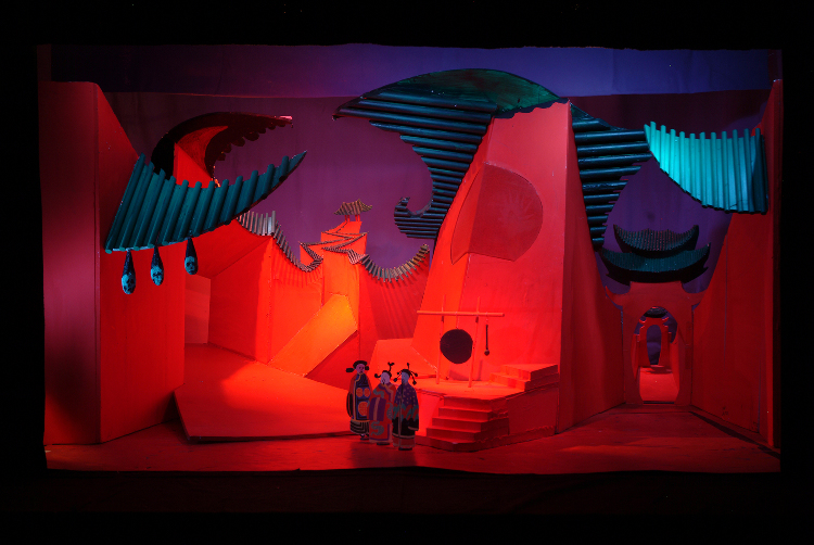 """Image of Act I, 1/2"""" Scale Model, Final Version from """"Turandot"""" (Alternate Lighting 2)"""