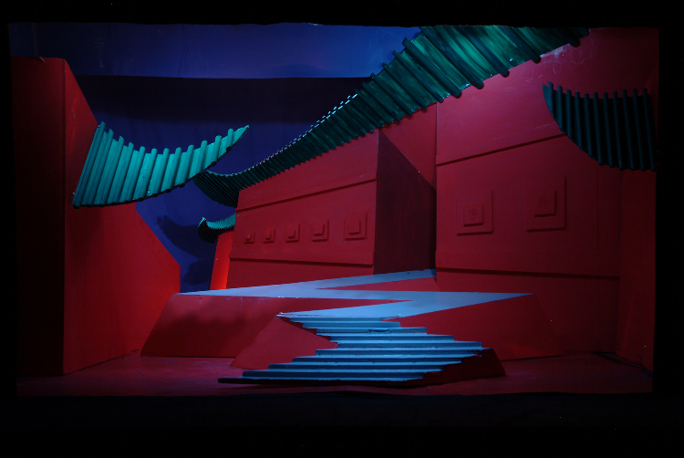 "Image of Act II, Scene II, 1/2"" Scale Model, Final Version from ""Turandot"" (Alternate Lighting 3)"