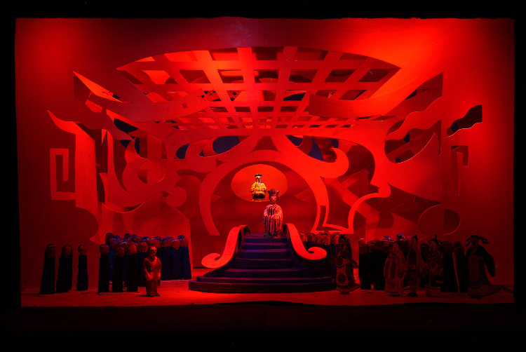 "Image of Act III, Scene II, 6 Drops in 1/2"" Scale Model, Final Version from ""Turandot"" (Alternate Lighting 3)"