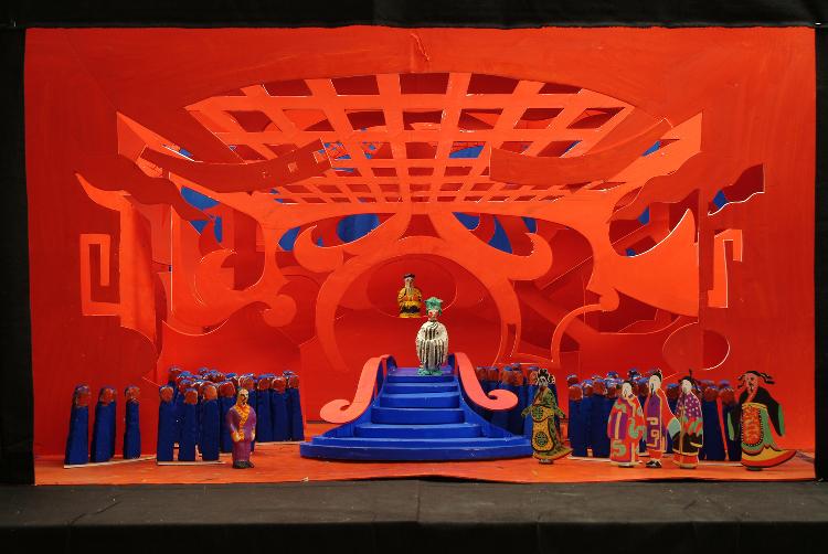 "Image of Act III, Scene II, 6 Drops in 1/2"" Scale Model, Final Version from ""Turandot"" (Alternate Lighting 4)"