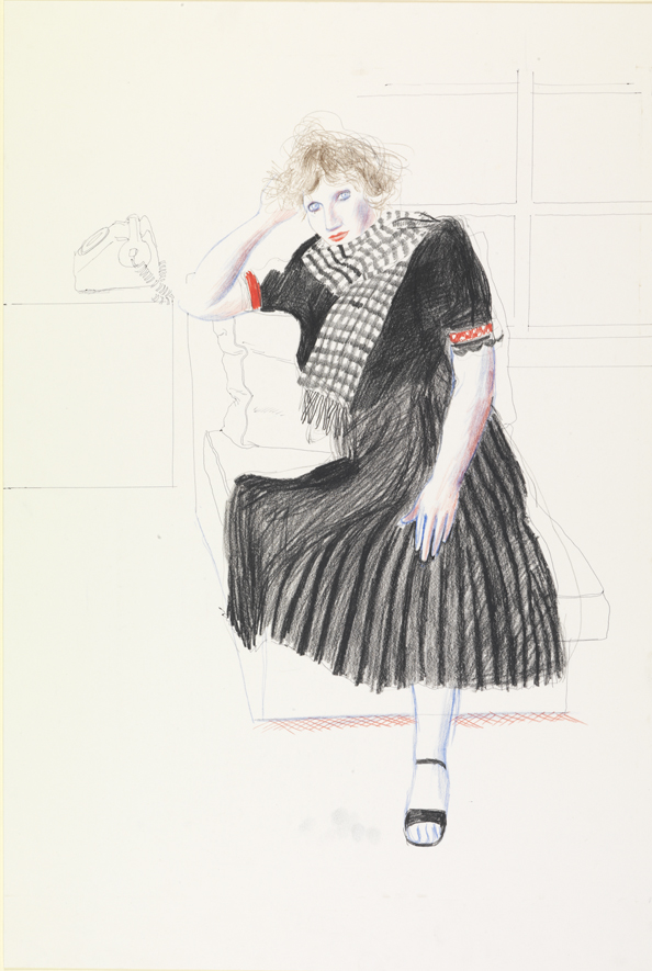 Image of Softground Tracing, Celia with Telephone
