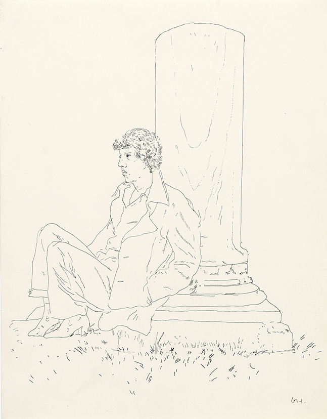 Image of Gregory Sitting on Base of Column, Rome