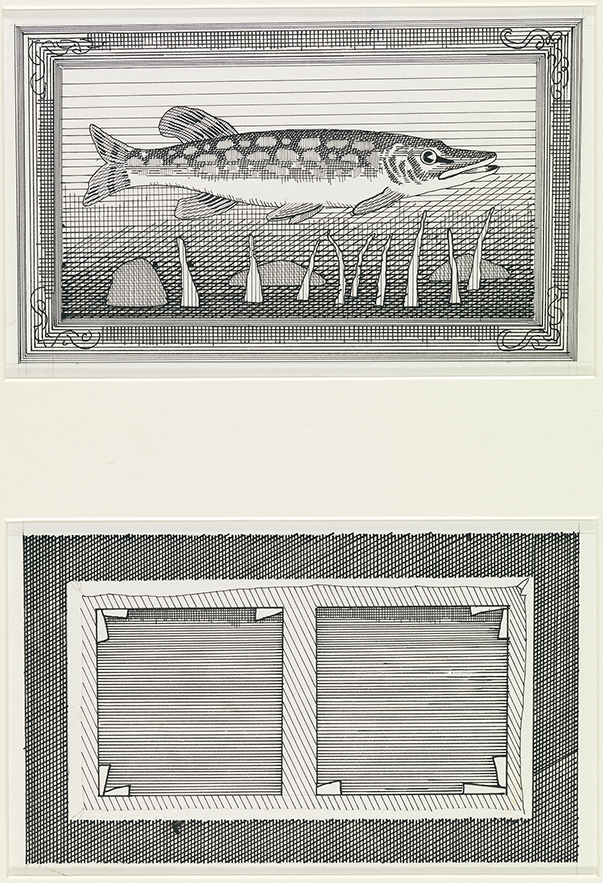 """Image of Front and Back of Painting of a Pike from """"The Rake's Progress"""""""