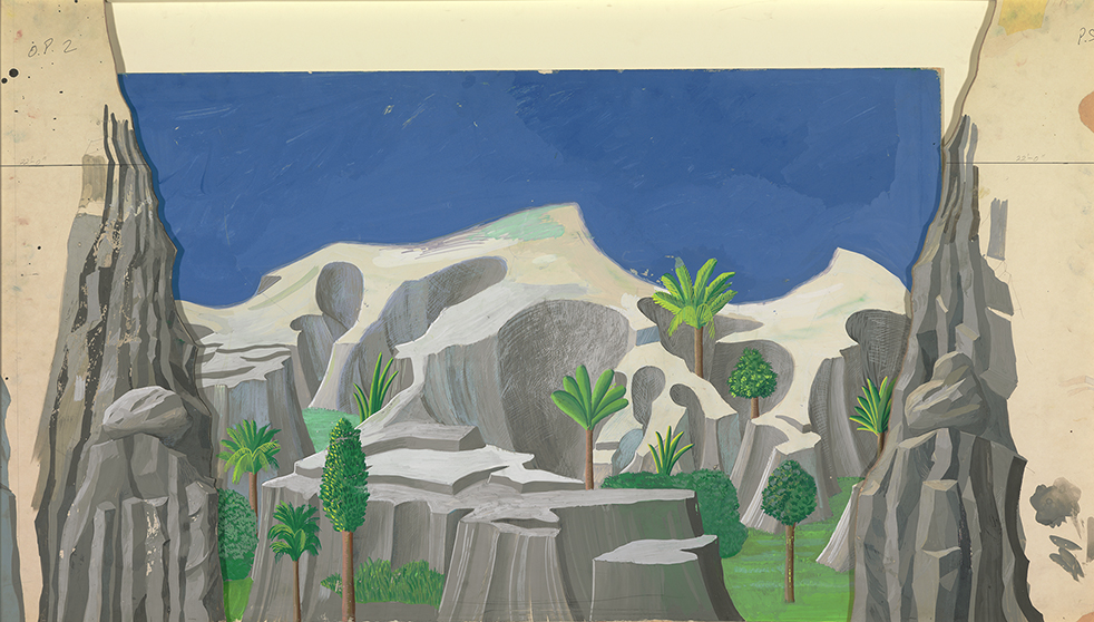 """Image of Act I, Scene I. A Rocky Landscape from """"The Magic Flute"""", 1977"""