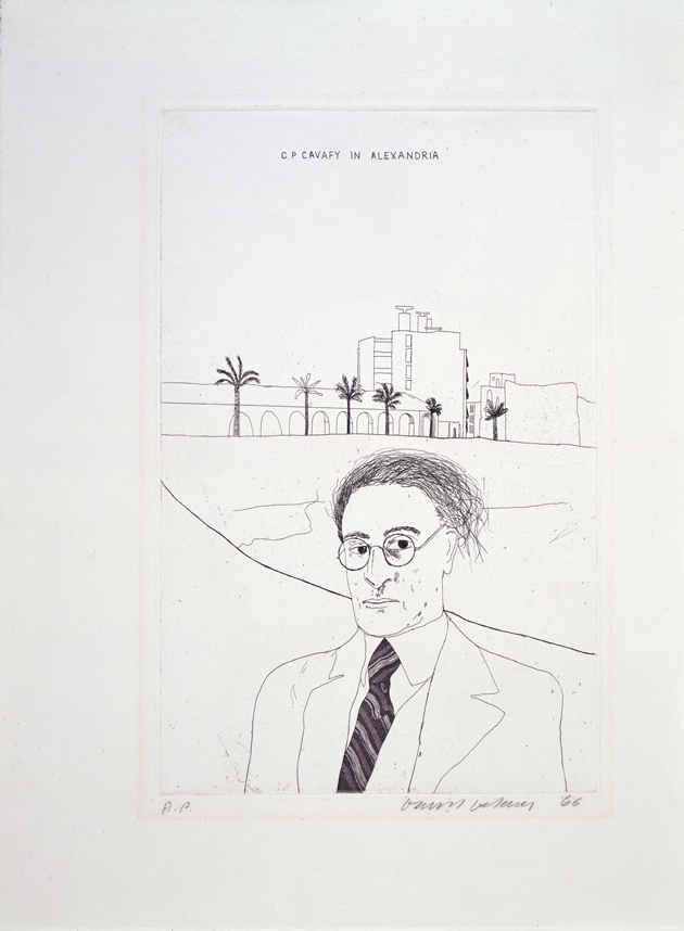 """Image of Portrait of Cavafy in Alexandria from """"Illustrations for Fourteen Poems from C.P. Cavafy"""""""
