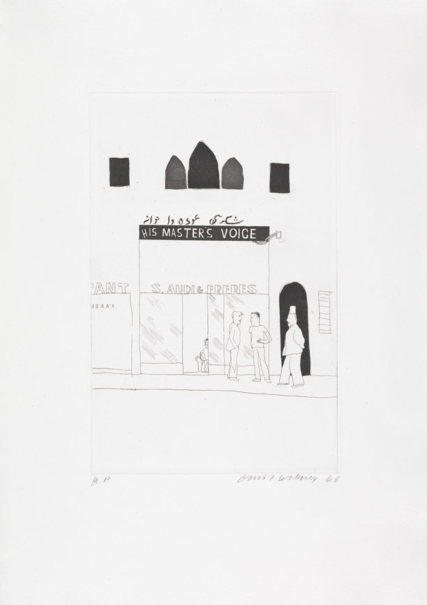 """Image of The Shop Window of a Tobacco Store from """"Illustrations for Fourteen Poems from C.P. Cavafy"""""""