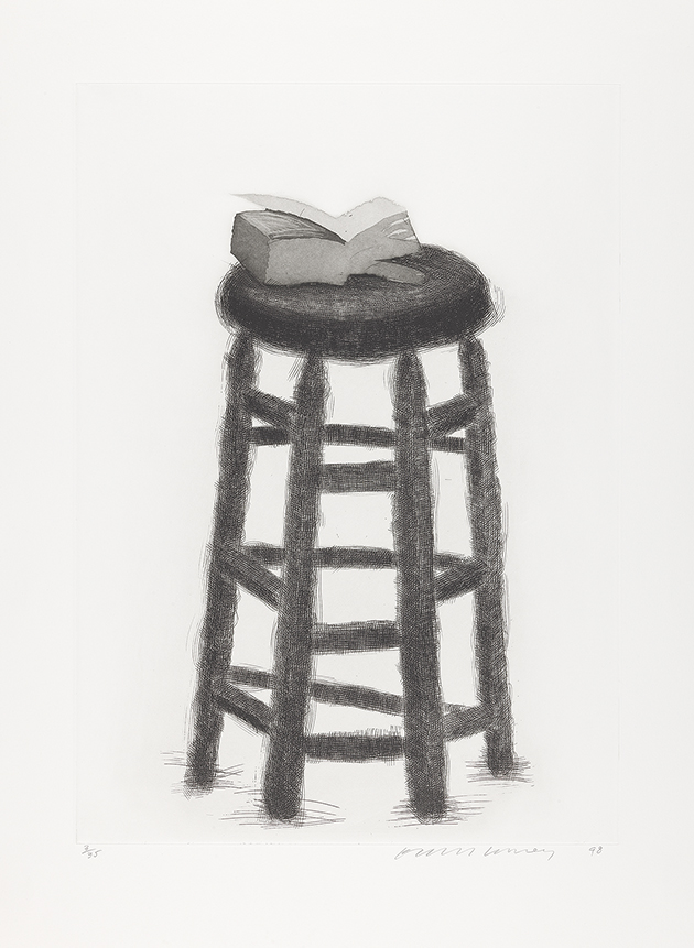 Image of Wooden Stool with Book