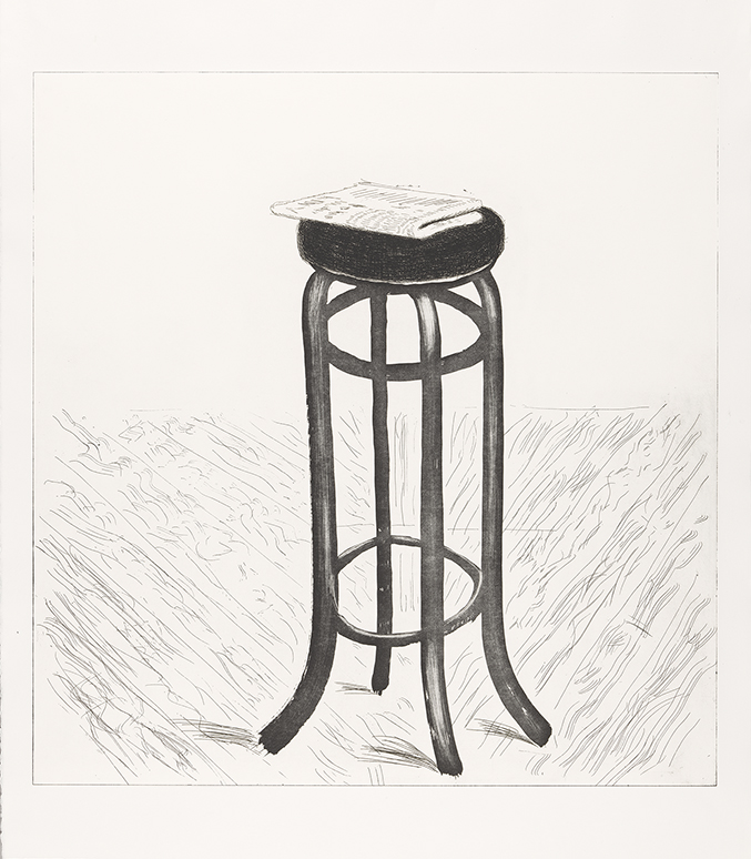 Image of Steel Stool with Newspaper