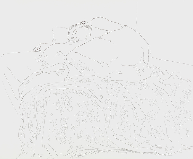 Image of Gregory Sleeping with Flowered Bedcover, Fire Island