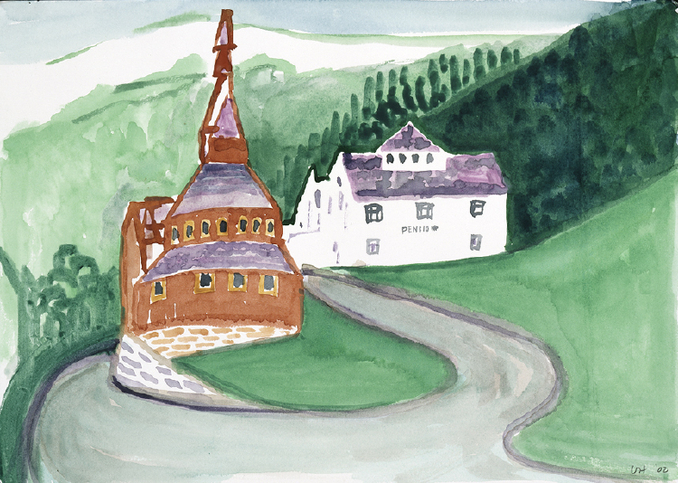 Image of Balestrand. Sketch of Church and Pension