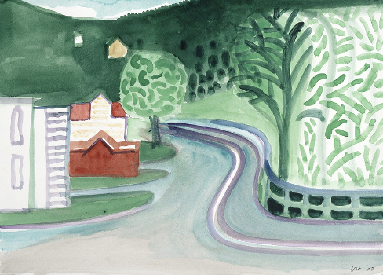 Image of Balestrand. Road and Houses