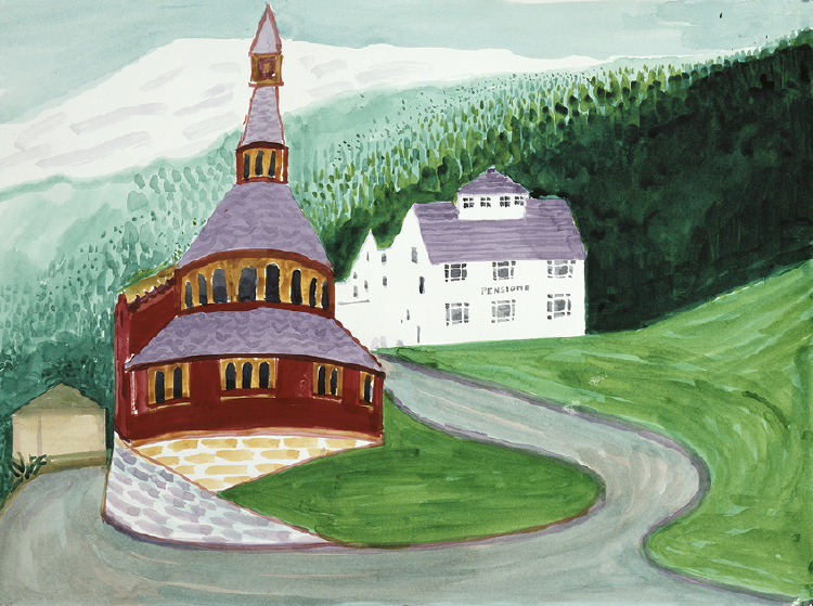 Image of Balestrand. Church and Pension