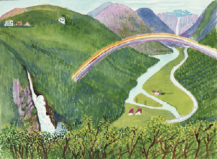 Image of Waterfall and Rainbow. Stalheim Valley