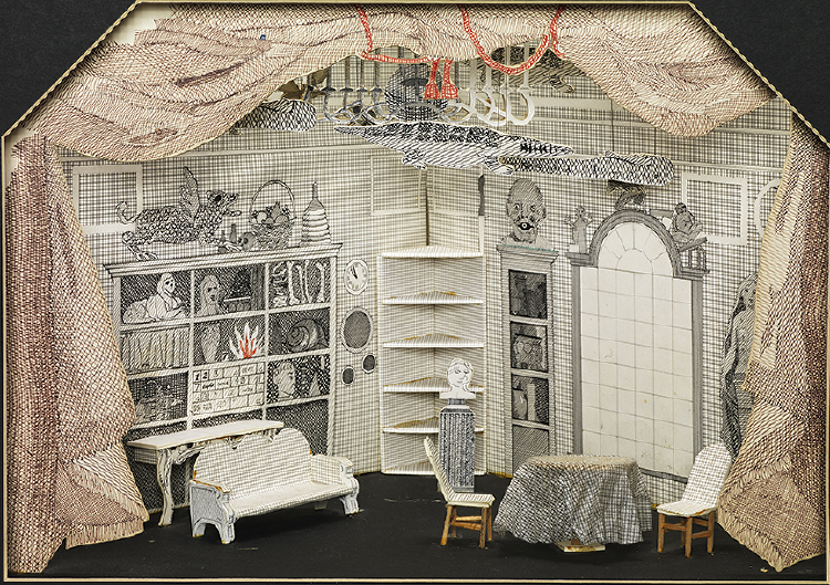 """Image of Tom's Room with Baba's Hanging Objects from """"The Rake's Progress"""""""