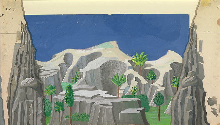 "Image of Act I, Scene I. A Rocky Landscape from ""The Magic Flute"""