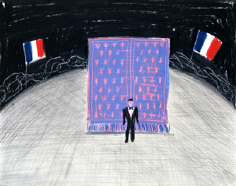 """Image of Curtain with Curved Stage from """"Les mamelles de Tirésias"""""""