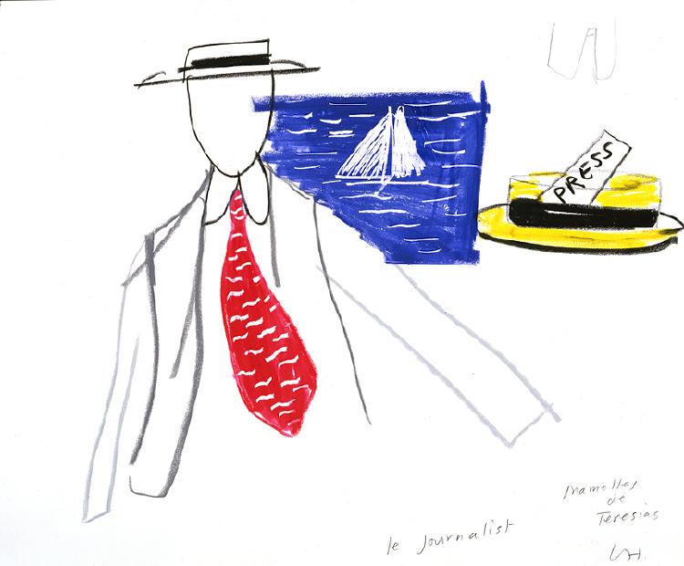 """Image of Le Journalist from """"Les mamelles de Tirésias"""""""
