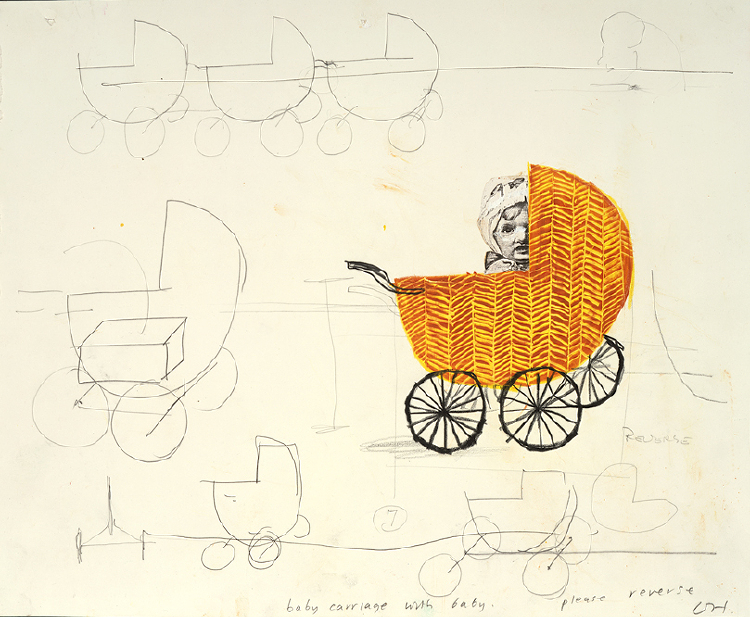 """Image of Baby Carriage with Baby from """"Les mamelles de Tirésias"""""""