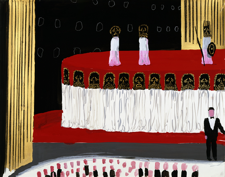 "Image of Principal Singers, Chorus and Narrator from ""Oedipus Rex"""