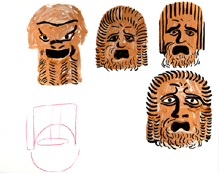 "Image of Study of Masks II from ""Oedipus Rex"""