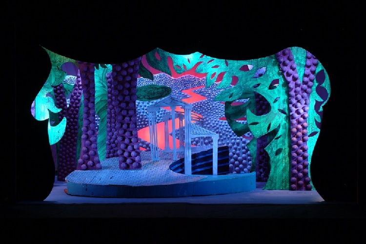 """Image of Falcon House Exterior, 1 1/2"""" Scale Model Act II, Scene II, Final Version from """"Die Frau Ohne Schatten"""""""